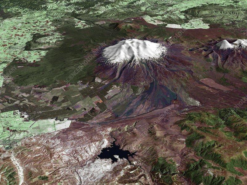 Mount Ruapehu, satellite image