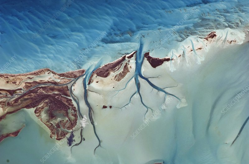 Sandy Cay, Bahamas, from space