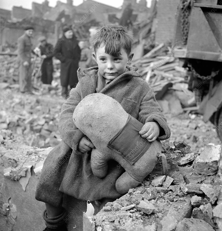 Child during London bombing, 1945