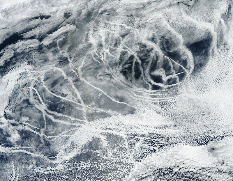 Ship tracks, satellite image
