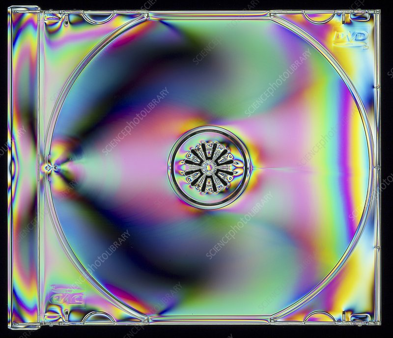 Photoelastic stress of a plastic DVD case
