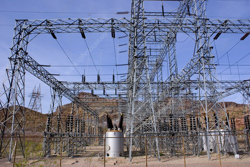 Electricity substation above Hoover Dam
