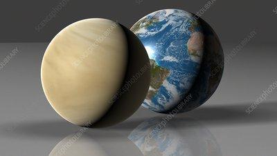 Earth compared to Venus