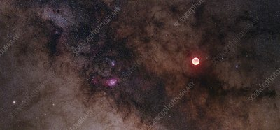 Lunar eclipse and Milky Way