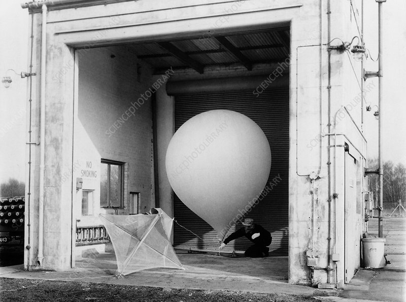 Radiosonde launch preparations, 1960s