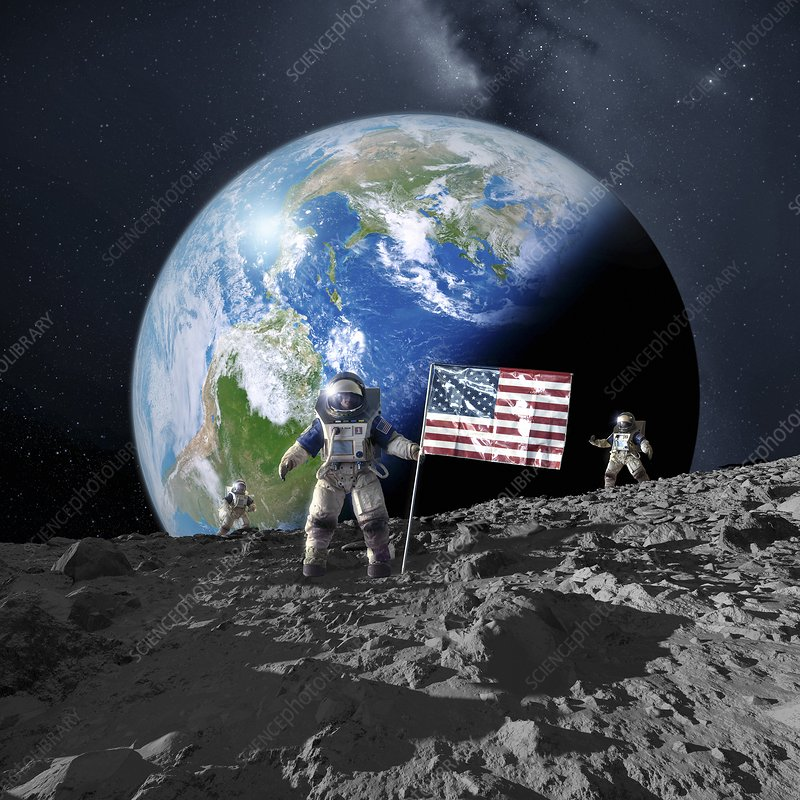 Americans on the moon, artwork