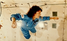 Christa McAuliffe training in free fall