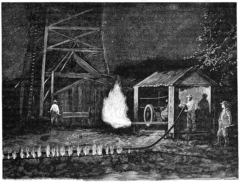 Natural gas well, 19th century