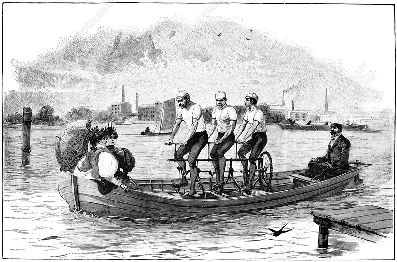 Pedal-powered boat, 19th century