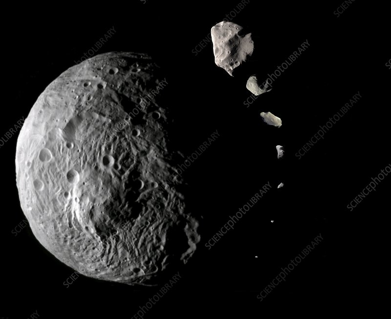 Asteroid sizes compared, composite image