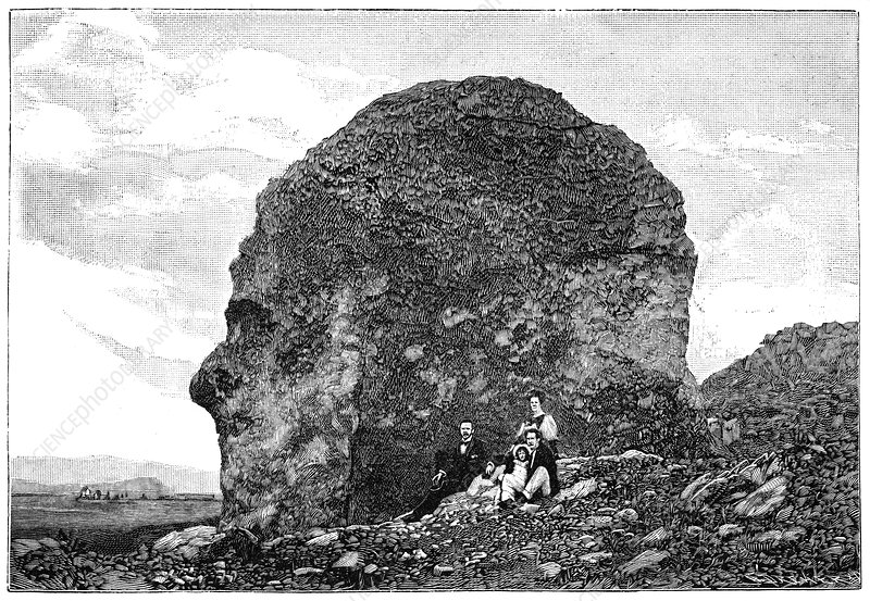 Human-like rock formation, 19th century