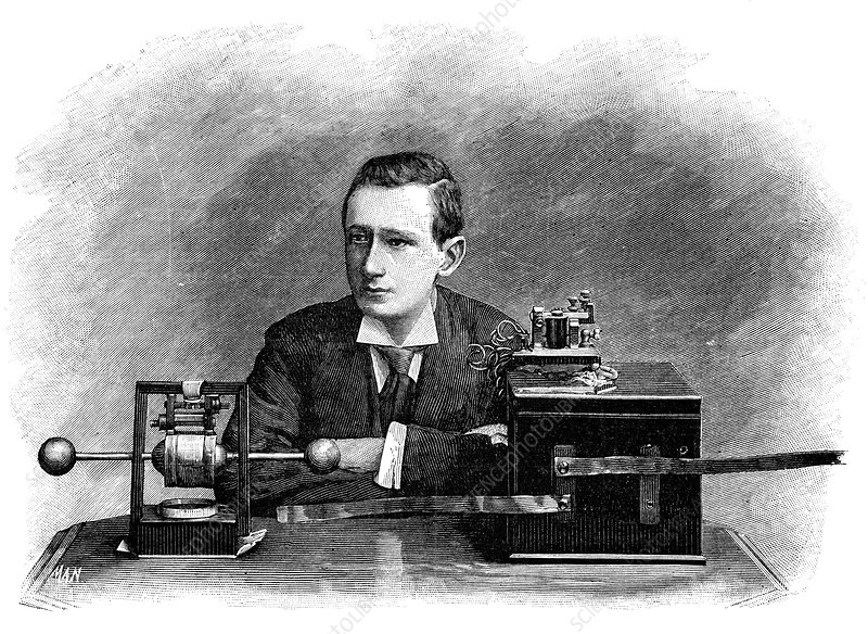 Guglielmo Marconi with his radio, 1890s