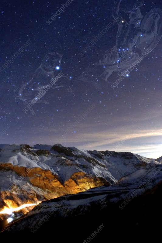 Orion and Sirius over mountains, Iran