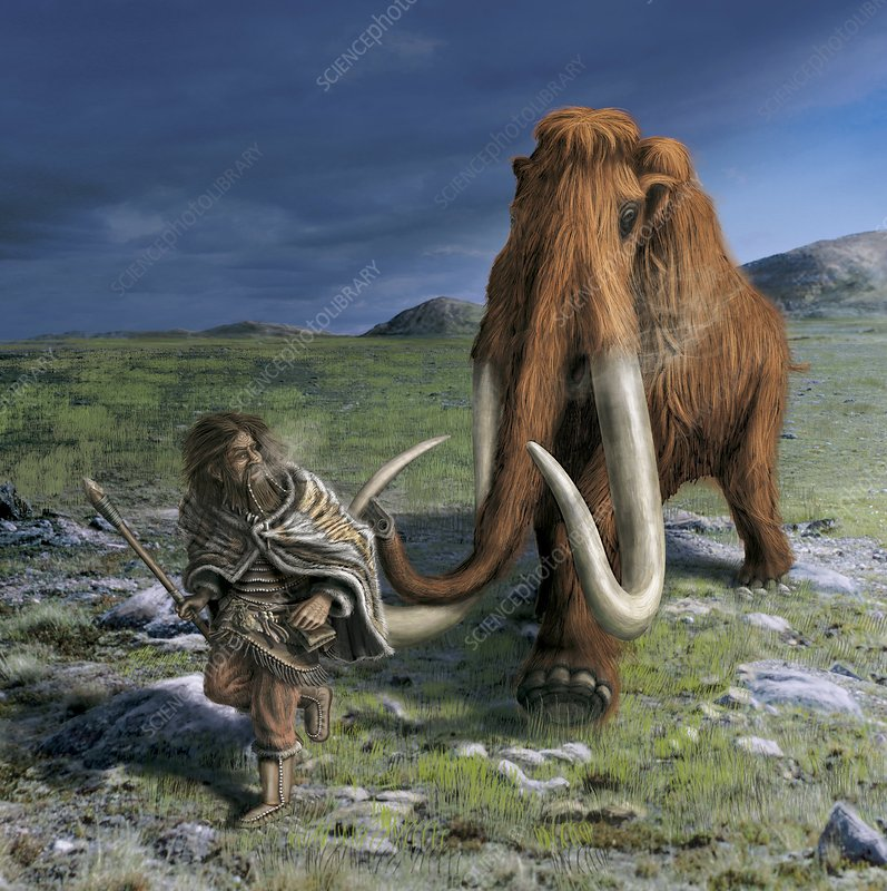 Mammoth chasing a caveman, artwork
