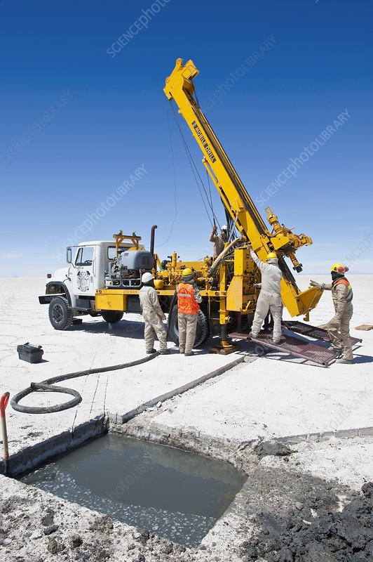 Drilling in a salt flat