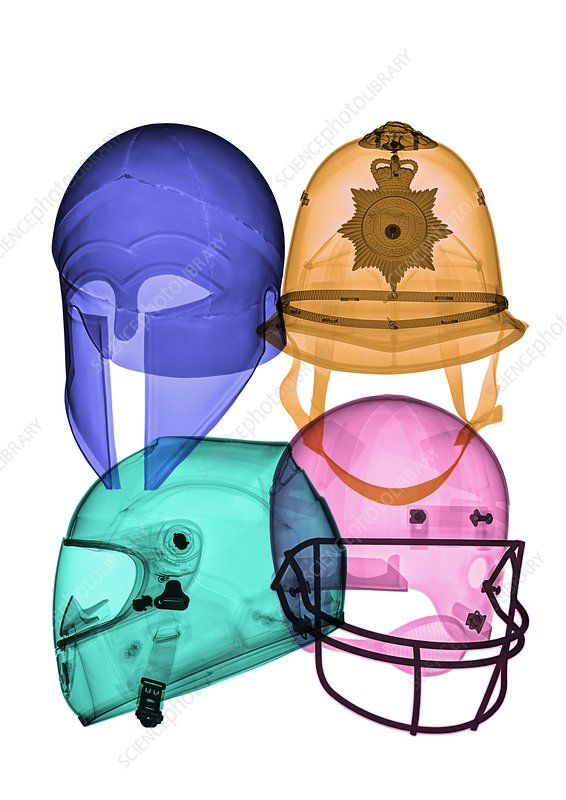 Assorted helmets, X-ray