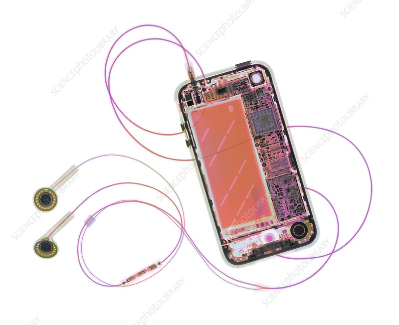 Mobile phone and headphones, X-ray
