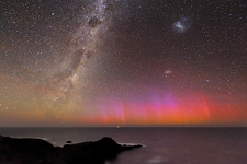 Aurora australis and Milky Way