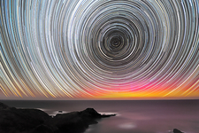 Aurora australis and star trails