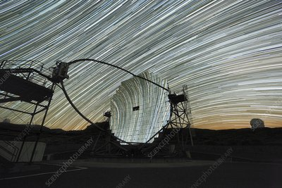 MAGIC telescope and star trails