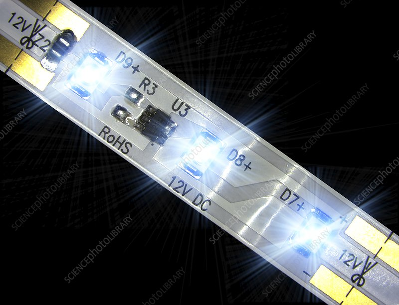 LED light strip, macrophotograph