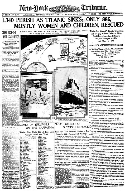 Newspaper report on Titanic disaster