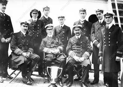 Carpathia officers with Titanic cup
