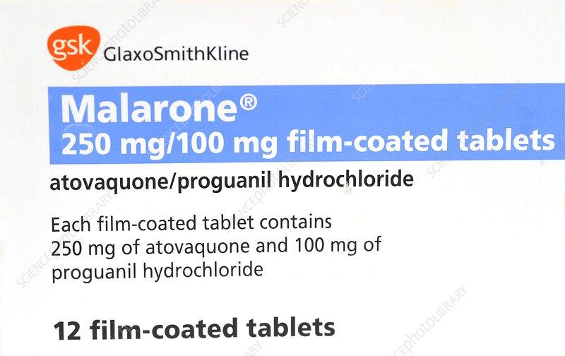 Malarone anti-malarial drug - Stock Image - C011/6697