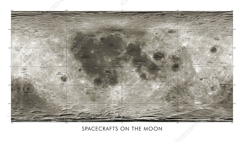 Spacecraft on the Moon, lunar map
