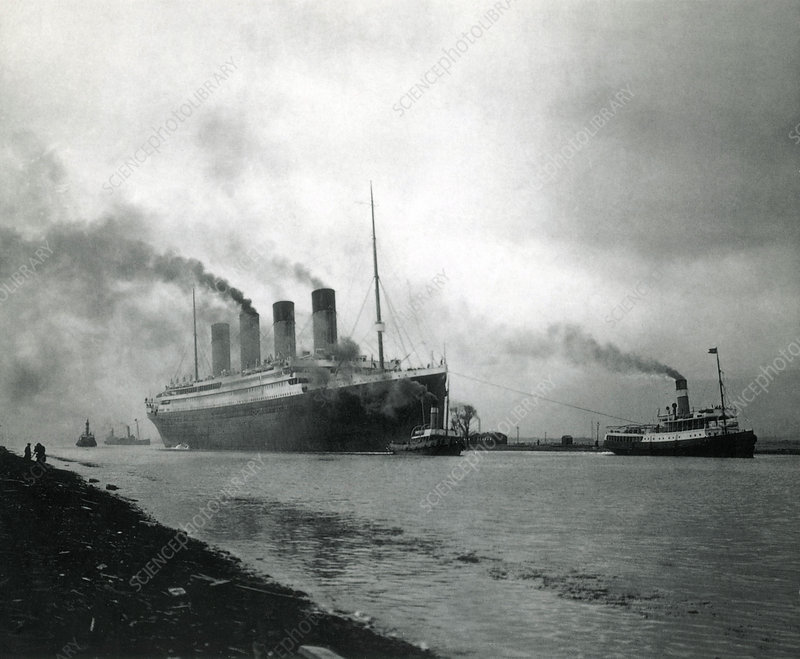 Titanic leaving the shipyard