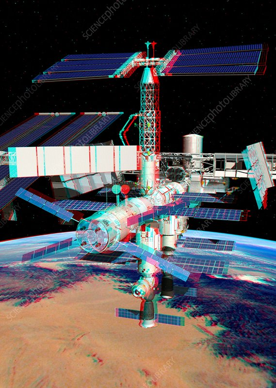 ATV boosting the ISS, stereo image
