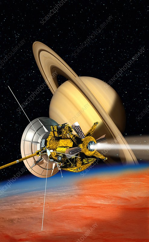 Cassini-Huygens probe at Titan, artwork - Stock Image C011 ...
