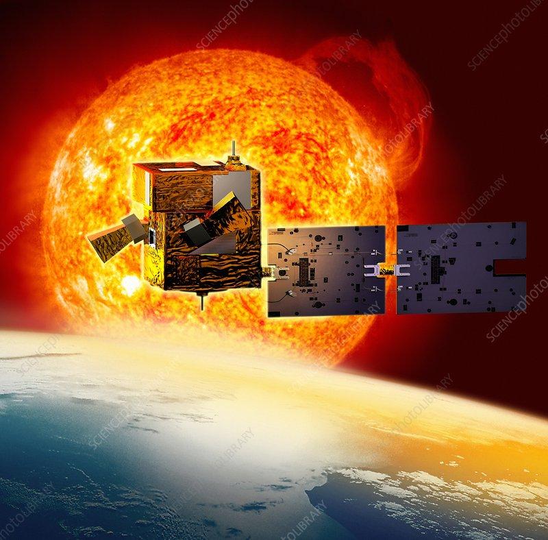 Picard satellite and Sun, artwork