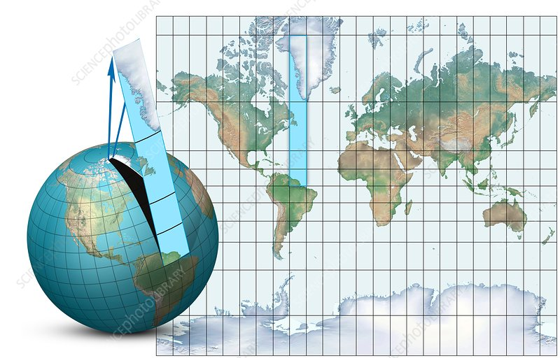 Mercator Map Projection  Diagram  8410