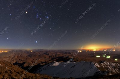 Orion and Sirius over city lights, Iran