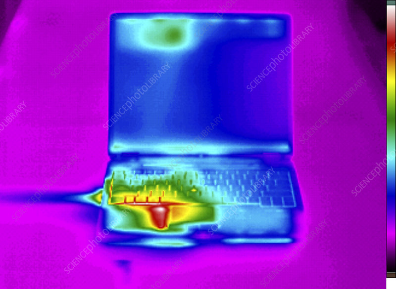 Thermogram of a laptop