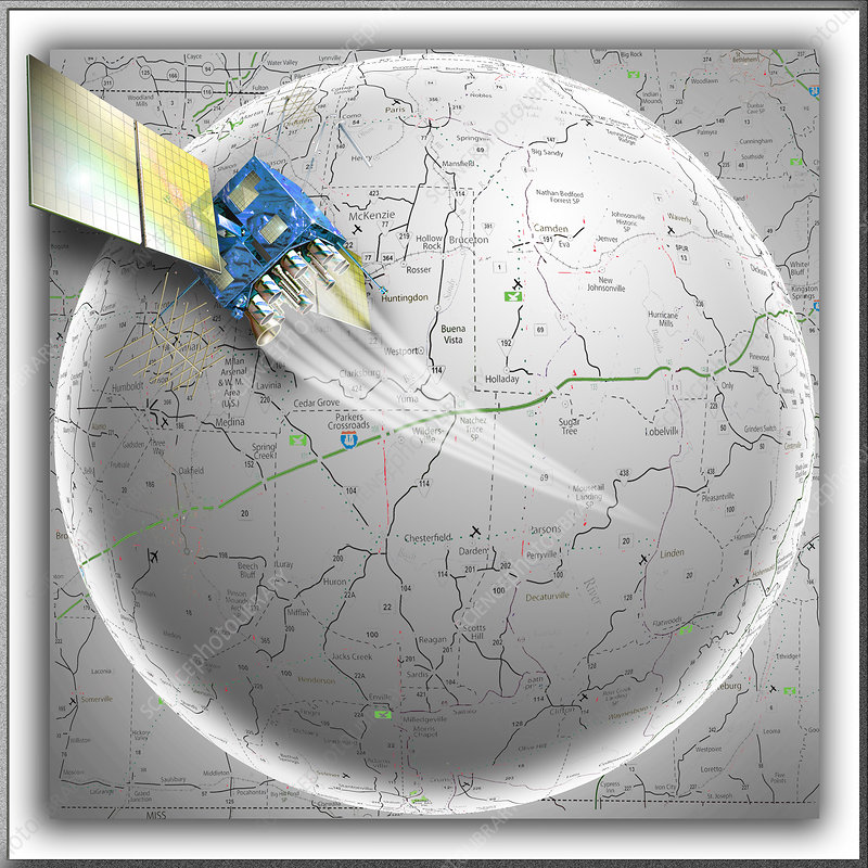 GPS Satellite over Map
