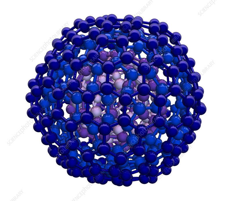 3D Model of Nested Buckyball Molecules