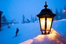 Streetlight in a ski resort