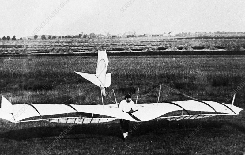 Otto Lilienthal testing a glider