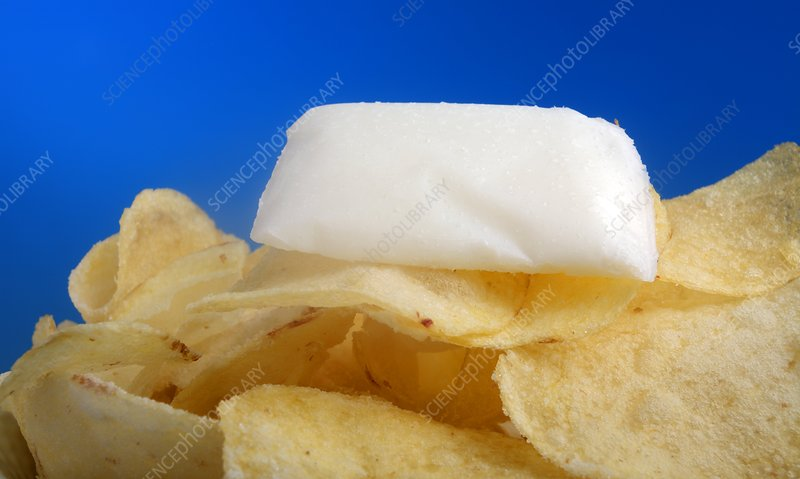 Fat content in crisps, conceptual image