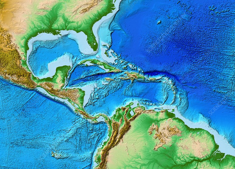 Caribbean topography, ETOPO1 model