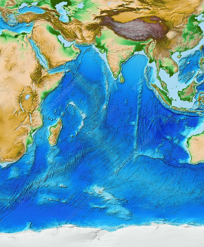 Indian Ocean topography, ETOPO1 model