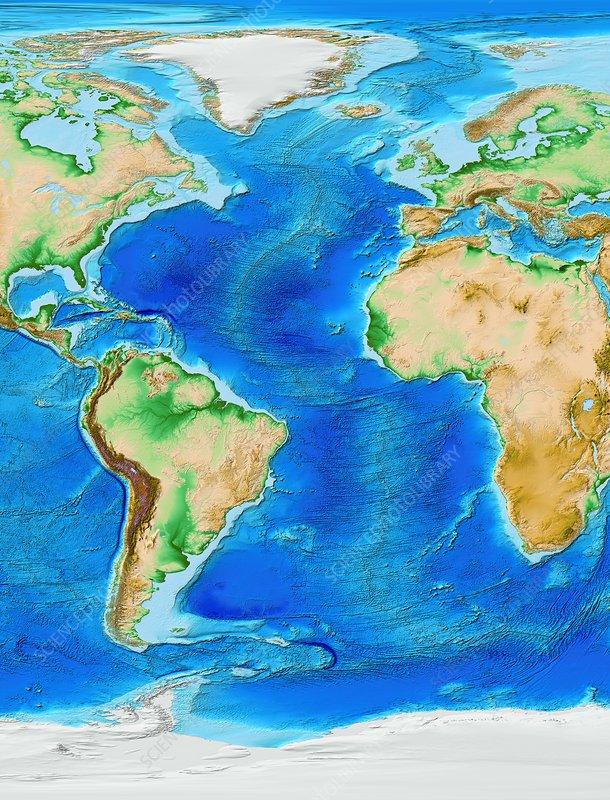 Sea Floor Elevation Map : Atlantic ocean topography etopo model stock image c