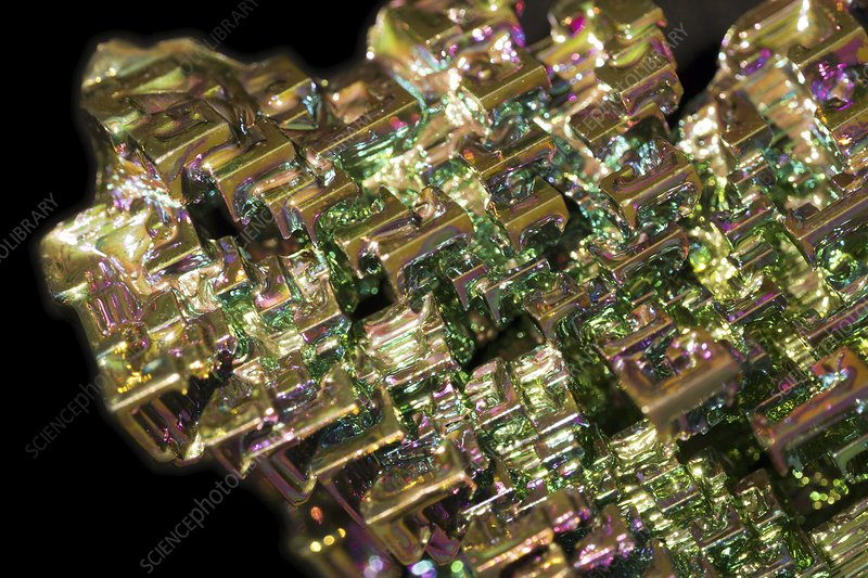 Bismuth crystals, macrophotograph