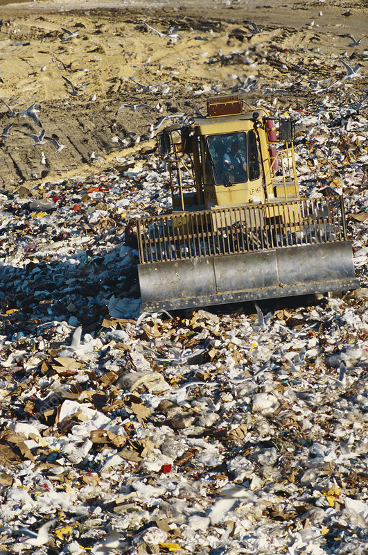 Landfills With Tractors : Compactor tractor in landfill stock image c