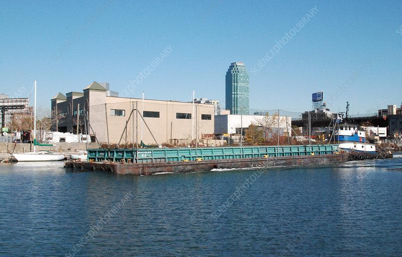 Tug Pushing Recycling Barge, NYC, USA