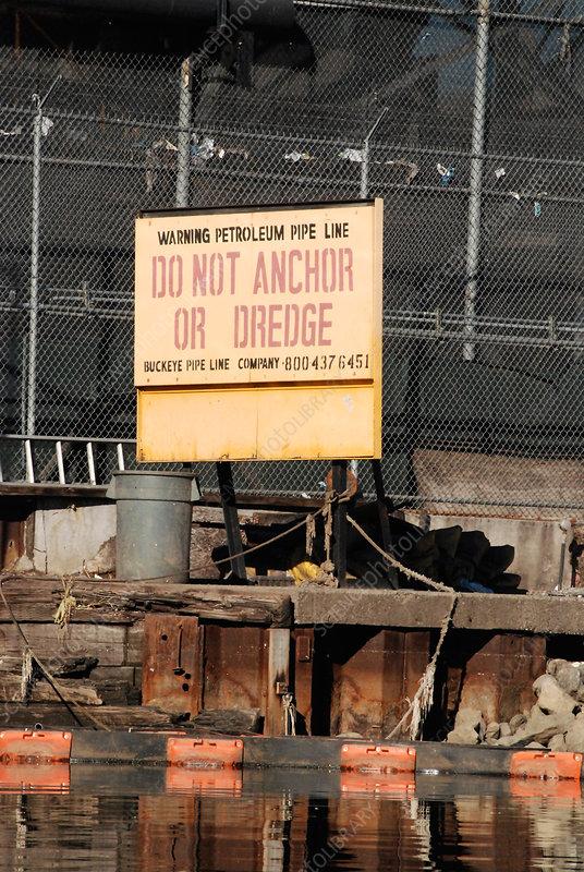 Warning Sign Along Newtown Creek, NYC