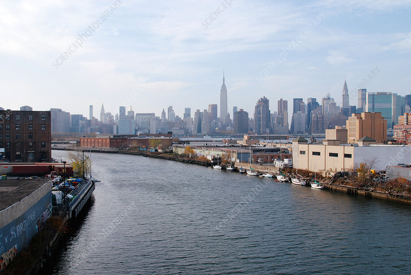 Newtown Creek and Manhattan Skyline, USA