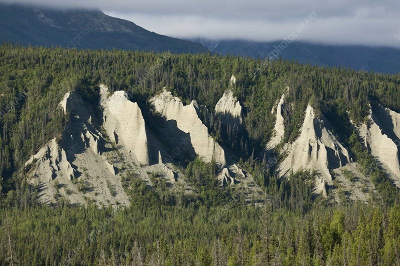 Eroded alluvial terraces, Alaska